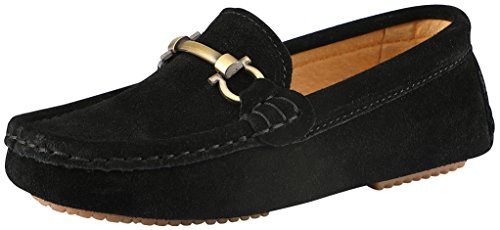 afers Slip On Boat Shoes US Size 11.5 Black(Suede) (Kids Loafers)