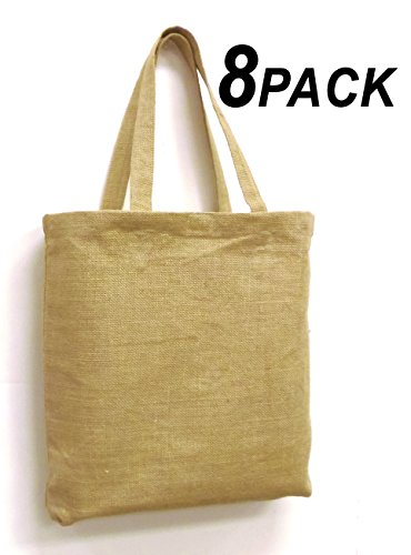 Cotton Craft - 8 Pack Jute Burlap Natural Oversized Large Tote Bag - 17x15 - Use for Groceries or any Shopping trip