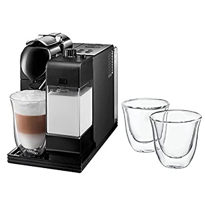 DeLonghi Lattissima Plus Capsule Espresso/Cappuccino Machine - Black (EN520B) with Double Walled Thermo Espresso Glasses, Set of 2