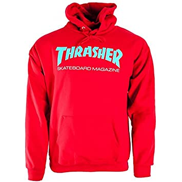 9a44fe09f6df Thrasher Skateboard Skate Mag Red Teal Hoody Hoodie  Amazon.co.uk  Sports    Outdoors