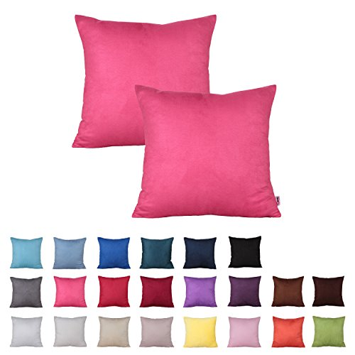 Queenie® - 2 Pcs Solid Color Faux Suede Decorative Pillowcase Cushion Cover for Sofa Throw Pillow Case Available in 22 Colors & 7 Sizes (15.75 x 15.75 Inch ( 40 x 40 cm), Color 11 Hot Pink)
