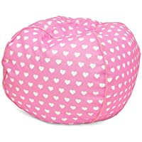 Heritage Kids JK656190 Kids Hearts Round Bean Bag Chair, Pink