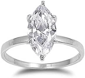 925 Sterling Silver Cubic Zirconia Classic Marquise Solitaire Ring 15MM