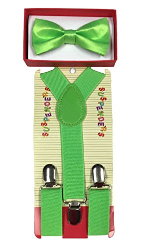 New Suspender Bow Tie Matching Colors Toddler Kids Boys Girls Child (Green) (Green Bow Acc)
