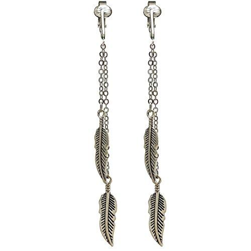 Modern Silver Dangle Clip On Earrings for Women Clip-ons, Non-pierced Ears, Long Dazzling Drop (Silver Feathers)