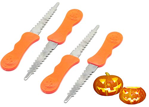 Faberry 4 Set Halloween Pumpkin Carving Kit Tool Fruits Watermelon Carver Holiday Lantern Face Pattern Tools (Orange) -