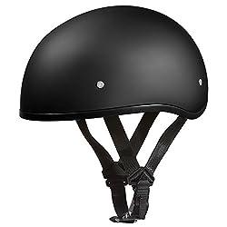 Daytona Helmets D1-bns Skull Cap Style Motorcycle Helmet Bundle With Head Wrap & Cloth Draw String Bag, Dull Black, X-large