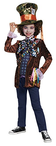 UHC Boy's Classic Mad Hatter Theme Outfit Party Kids Halloweem Costume, S (4-6)