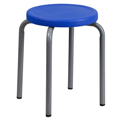 Flash Furniture Stackable Stool with Blue Seat and Silver Powder Coated Frame ()