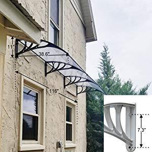 MCombo 39''×116''/39''x 78'' Window Overhead Door Awning Patio Outdoor Polycarbonate Cover Front Door Rain Sun Shetter Garden Canopy Hollow Sheet (40''x120'', Dark Brown Canopy/Black Bracket) by MCombo (Image #4)