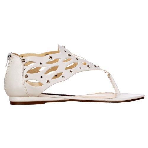 Onlineshoe Zehensteg Sandale Nieten Weiß Flache Gladiator Diamate Weiß und Damen Jeweled rrqwpxU