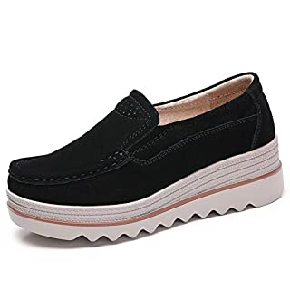 HKR-JJY3088heise40 Women Platform Slip On Loafers Comfort Suede Moccasins Wide Low Top Wedge Shoes Black 8 W US