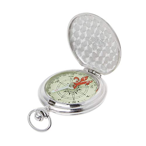 BYNNIX Pocket Watch Flip Compass Portable Hiking Navigation Compass Luminous in The Dark Navigation Car Compass Keychain with Silver