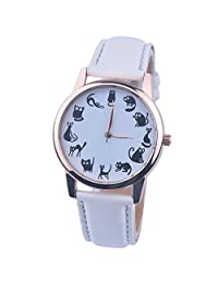 Yoyorule PU Leather Band Analog Quartz Vogue Wrist Watches White