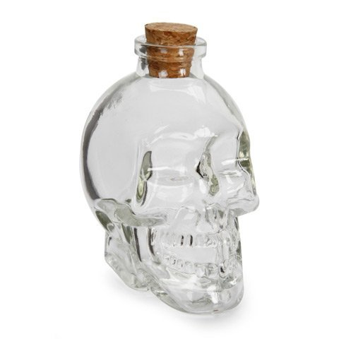 Skull Head Bottle with Cork: Glass - Clear - 100 ml - 2 x 3.5 inches -