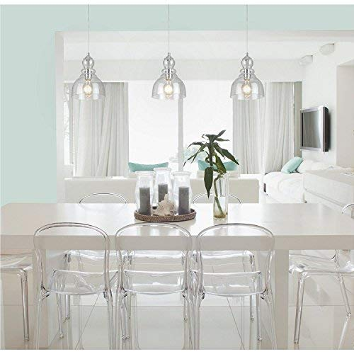 Westinghouse Industrial One-Light Adjustable Mini Pendant with Handblown Clear Seeded Glass, Brushed Nickel Finish - 3 Pack