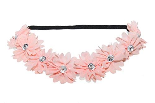 Lux Peach Pink Fabric Flower Crown Rhinestone Stretch Headband Chiffon Floral Head (Peach Crown)