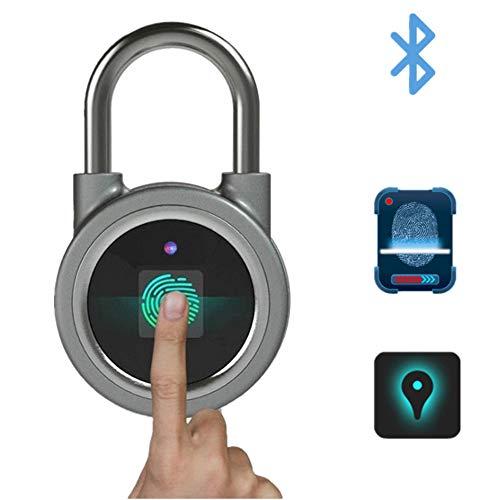 Bluetooth Huella digital Candado Cerradura inteligente Puerta exterior Candado Cerradura multifunción Control de teléfono...