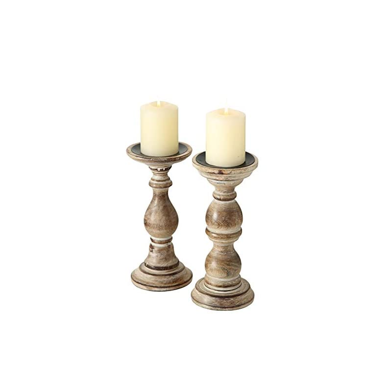 WHW Whole House Worlds Rustic Stockbridge Wooden Candle Holders, Set of 2, Spiked Metal Top, Rounded Turned Columns…