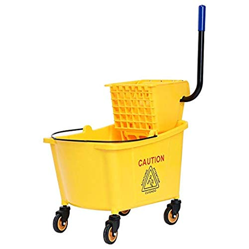 (Goplus Commercial Mop Bucket Side Press Wringer Cleaning Caddy with 35 Quart Larger Capacity, Yellow)