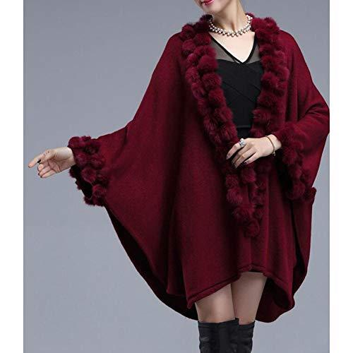 Grandi Di Autunno Signore Lo Sejngf Maglia In Scialle Delle Red E Dimensioni Inverno Mantello azq8w