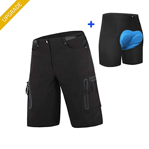 Cycorld Mens Mountain Bike Biking Shorts, Water Repellent MTB Shorts, Loose Fit Cycling Baggy Pants with Zip Pockets