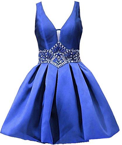 Bessdress Sangles V Cou Robes Courtes Retour À La Maison Cocktail Perles Robe De Bal De Fête Bd371 Bleu Royal