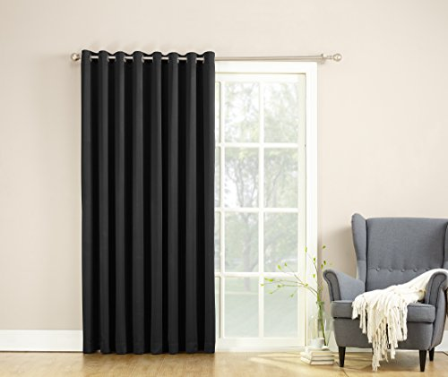 Sun Zero Barrow Energy Efficient Patio Door Curtain Panel,Black,100