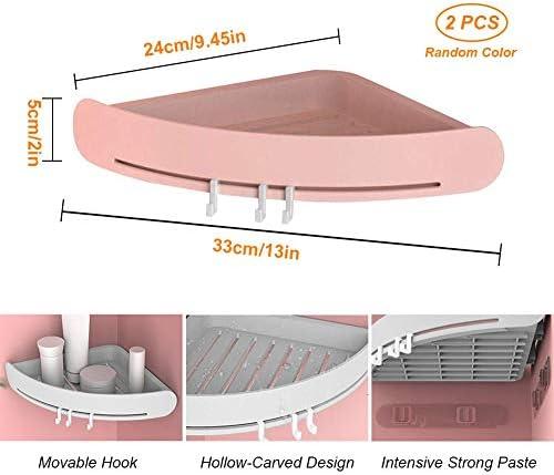 シャワーコーナーシェルフ接着剤バスルームオーガナイザーバスルームとキッチン用フック付きプラスチックコーナーシャワーキャディ(2 PCS)