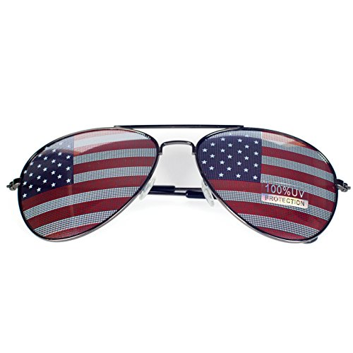 (Goson American Flag Mirror Aviator Novelty Decorative Sunglasses (Black))