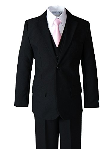 Spring Notion Big Boys' Modern Fit Dress Suit Set 4T Black w/Pink Tie