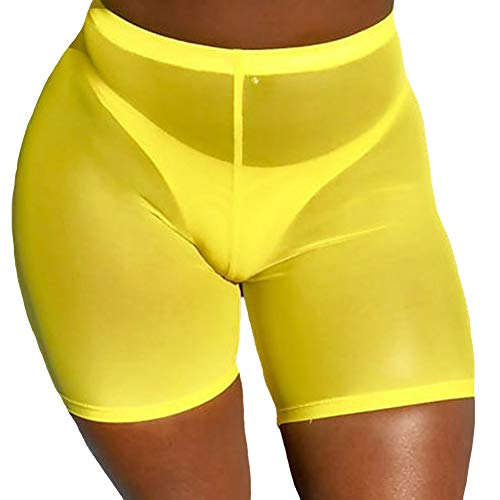 Nihsatin Womens Elastic Sheer Mesh Biker Shorts High Waist Booty Shorts See Through Yellow