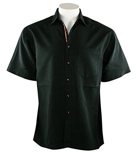Black Button Down Camp Shirt - Bamboo Cay Bellagio, Men's Tropical Style Black Color Button Front Camp Shirt