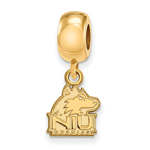 Sterling Silver w/ 14K Yellow Gold-Plated LogoArt Official Licensed Collegiate Northern Illinois University (NIU) XS Dangle (Solid 14k Gold University Seal)
