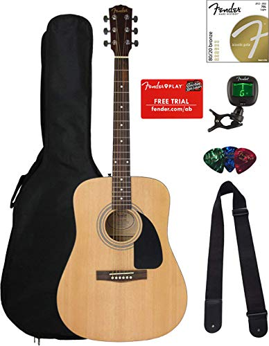 Fender FA-100 Dreadnought Acoustic Guitar – Natural Satin Bundle with Gig Bag, Tuner, Strings, Strap, and Picks