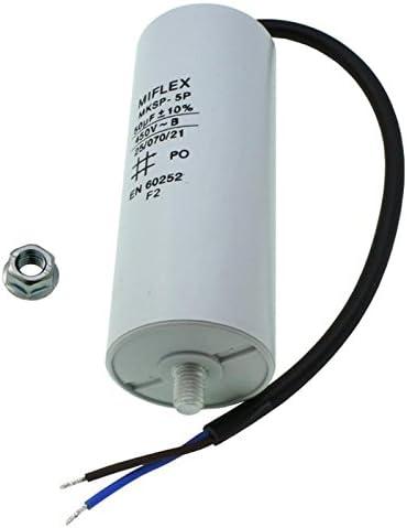 Condensateur du moteur 70µF 450V 55x119mm Câble M8 ; Miflex ; 70uF