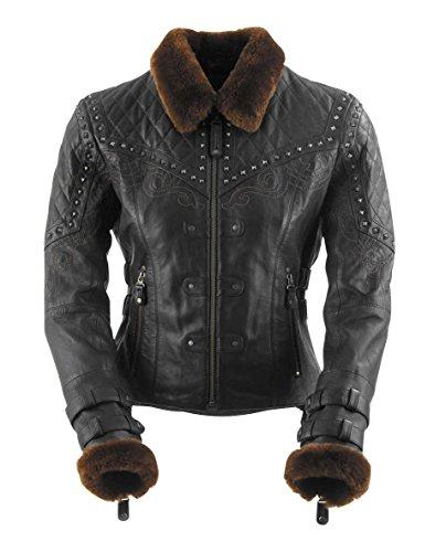 (Black Brand Women's Leather Sheared Beaver Motorcycle Jacket (Black, Large))