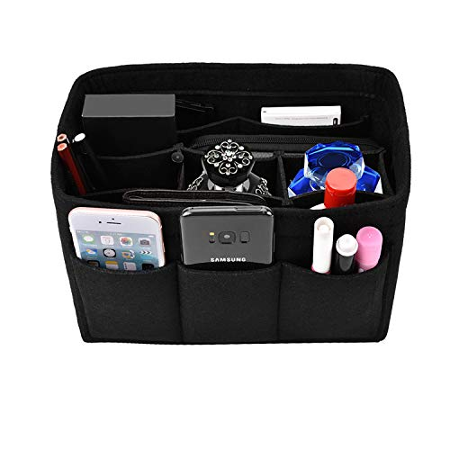 Kumako handbag organizer,Felt purse insert bag organizer fit LV neverful,Speedy,Longchamp&Tote Bag(M,Black)