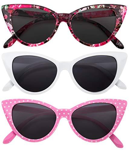(3 pairs Cat Eye Sunglasses Plastic Frame White Flowers Pink Polka dots)