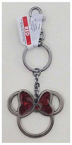 (WDW Parks Keychain - Minnie Icon with Glitter Bow )