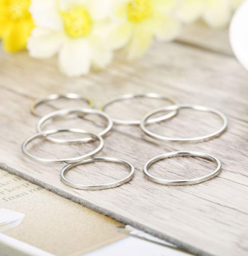 LOYALLOOK 14Pcs Thin Stacking Rings Stainless Steel 1MM Knuckle Midi Ring for Women Girls Silver-Tone Gold-Tone,Size 3-9 by LOYALLOOK (Image #4)