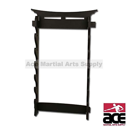 Ace Martial Arts Supply 6 Tier Sword Wall Display Stand Rack - Martial Arts Weapons Rack