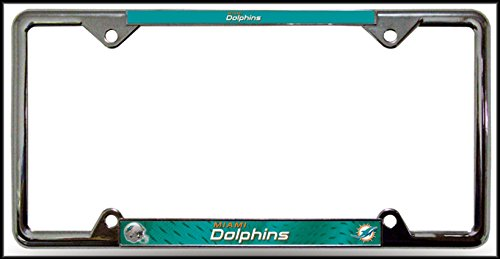 NFL Miami Dolphins EZ View Heavy Duty Chrome Metal License Plate Frame