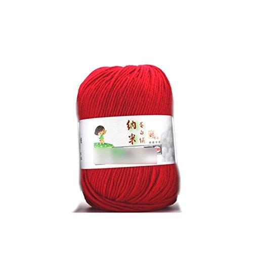Mujer arte de la costura Fibroin lana hilo suave de seda natural de terciopelo Fibra de fibra de hilo color rojo