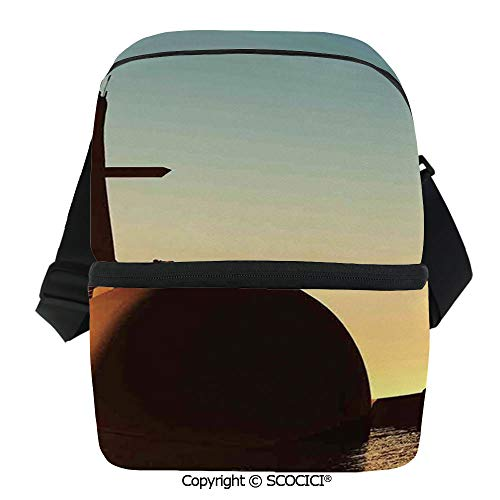 SCOCICI Insulated Lunch Cooler Bag Submarine Below Evening Sky with Soldiers Nuclear Transport Navy Image Reusable Lunch for Men Women Heat Insulation,Heat -