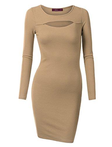 [Doublju Women Long Sleeve Round Neck Unique Lip Hole Midi Dress DARKBEIGE,M] (Maternity Fancy Dress Uk)