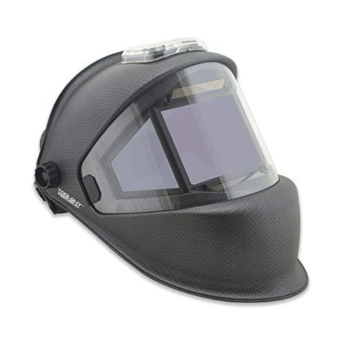 TGR Panoramic 180 View Solar Powered Auto Darkening Welding Helmet - True Color (MATTE CARBON FIBER) (Best Cheap Auto Darkening Welding Helmet)