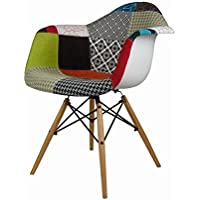 ModHaus Set of 2 Mid Century Modern Eames Style DAW Patchwork Upholstered Armchair