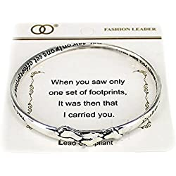 OORI Silvertone Beautiful Inspirational Footprints in the Sand Poem Twisted Bangle Charm Bracelet (with Gift Box)