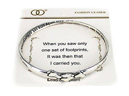 Poem Bracelet Gift Box (OORI Silvertone Beautiful Inspirational Footprints in the Sand Poem Twisted Bangle Charm Bracelet (with Gift Box))